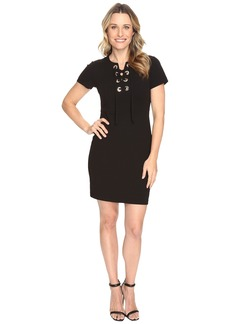 Vince Camuto Short Sleeve Dress with Front Grommet Lace-Up