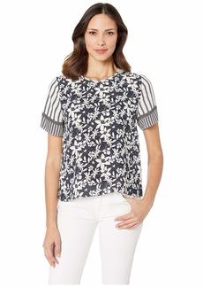 Vince Camuto Short Sleeve Floral Lace Mix Print Blouse