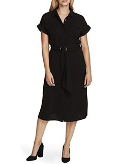 Vince Camuto Short Sleeve Rumple Twill Two-Pocket Belted Dress