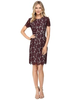 Vince Camuto Short Sleeve Scallop Lace Dress