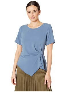 Vince Camuto Short Sleeve Side Gather Asymmetrical Hem Blouse