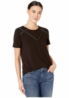 Vince Camuto Short Sleeve Studded Grosgrain Yoke Top