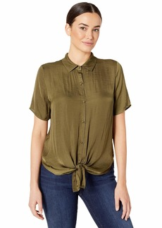 Vince Camuto Short Sleeve Tie Front Button Down Rumple Blouse