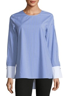 Simple Stripe Split-Sleeve Blouse