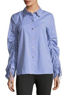 Simple Striped Button-Front Blouse