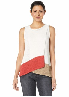Vince Camuto Sleeveless Asymmetrical Fold-Over Front Color Block Sweater