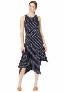 Vince Camuto Sleeveless Asymmetrical Handkerchief Hem Stripe Dress