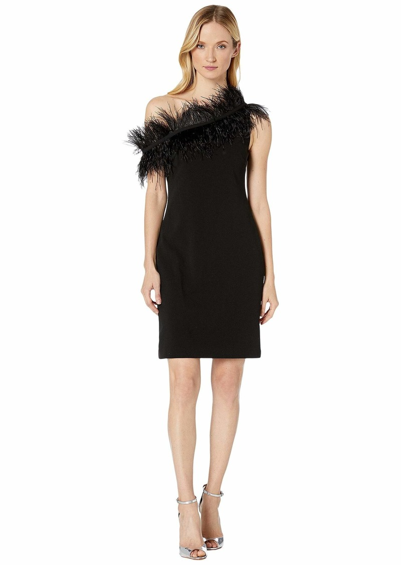 Vince Camuto Sleeveless Asymmetrical One-Shoulder Feather Trim Dress