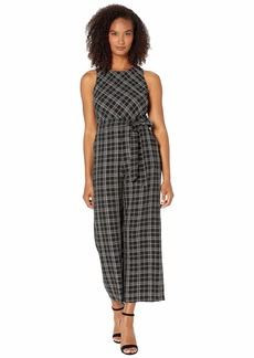 Vince Camuto Sleeveless Belted Even Plaid Jumpsuit