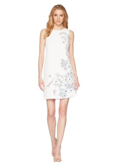 Vince Camuto Sleeveless Botanical Floral Printed Shift Dress