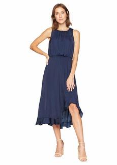Vince Camuto Sleeveless Cinched Waist Rumple Maxi Dress