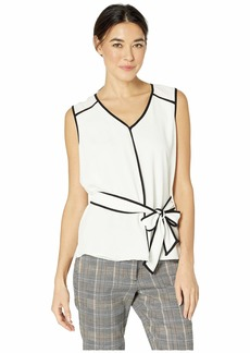 Vince Camuto Sleeveless Contrast Piping Belted Texture Blouse