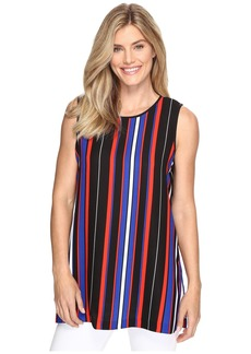 Vince Camuto Sleeveless Core Multi Stripe Blouse with Slits