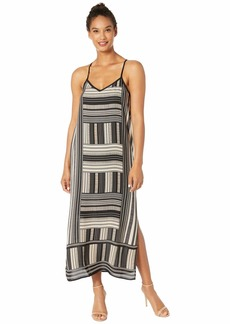 Vince Camuto Sleeveless Cross-Back Dotted Block Maxi Dress