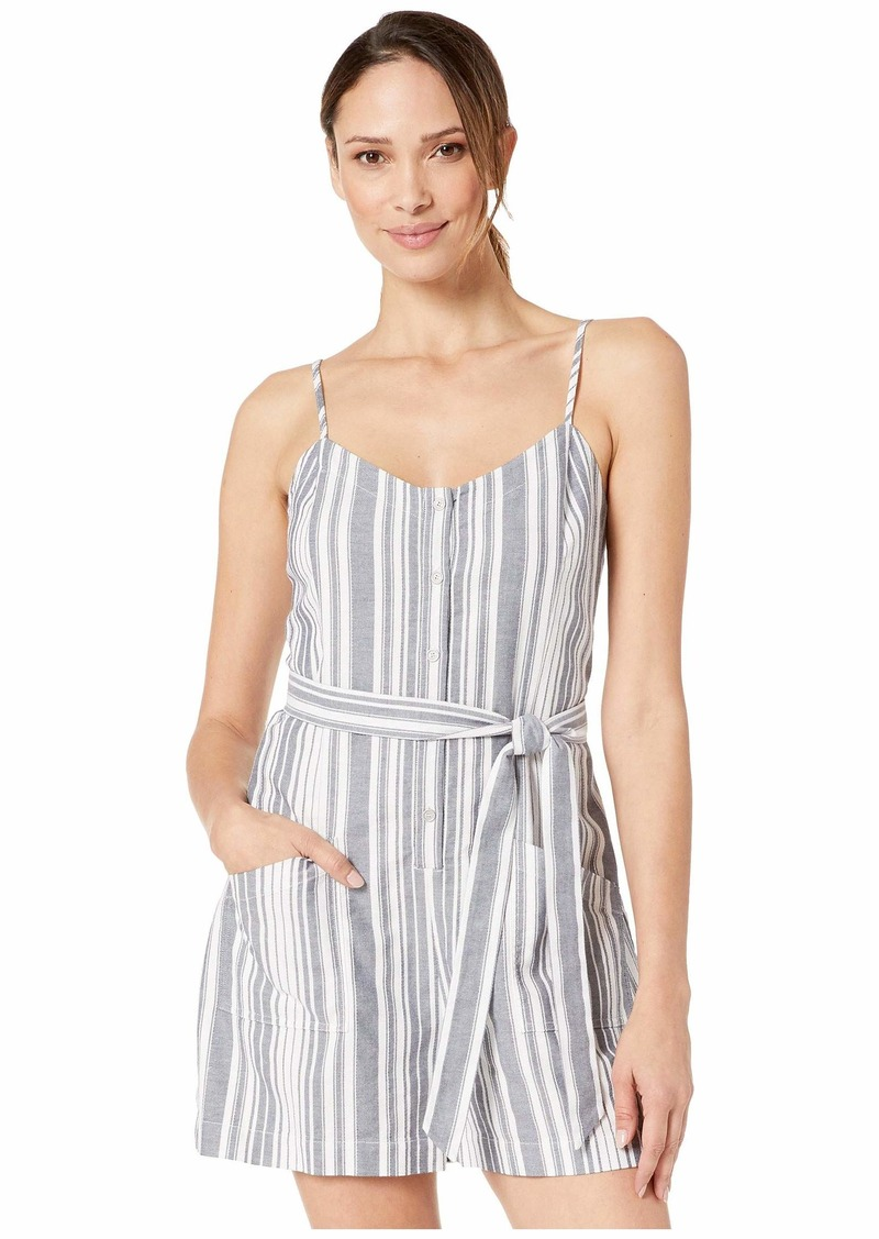 Vince Camuto Sleeveless Dobby Stripe Button Down Belted Romper