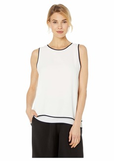 Vince Camuto Sleeveless Double Layered Contrast Piping Blouse