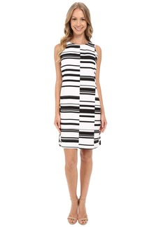 Vince Camuto Sleeveless Graphic Stagger Stripe Shift Dress
