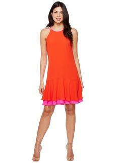 Vince Camuto Sleeveless Halter Color Blocked Ruffle Hem Dress