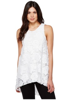 Vince Camuto Sleeveless High-Low Hem Floral Mesh Blouse