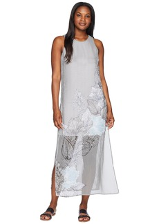 Vince Camuto Sleeveless Island Floral Chiffon Overlay Maxi Dress