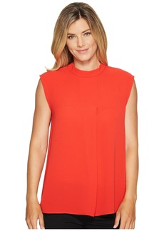 Vince Camuto Sleeveless Mock Neck Blouse w/ Front Fold