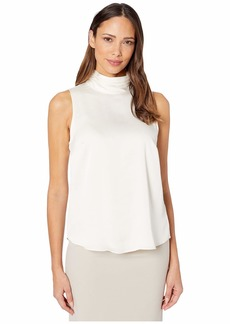 Vince Camuto Sleeveless Mock Neck Hammer Satin Blouse