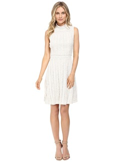Vince Camuto Sleeveless Mock Neck Ruffle Lace Flare Dress