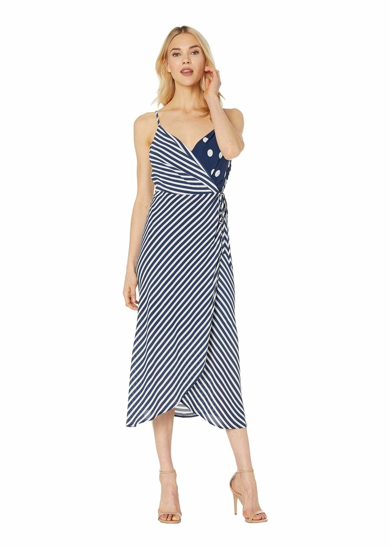 Sleeveless Modern Stripe Mix Print Wrap Dress