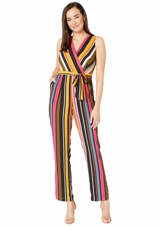 Vince Camuto Sleeveless Oasis Stripe Belted Jumpsuit