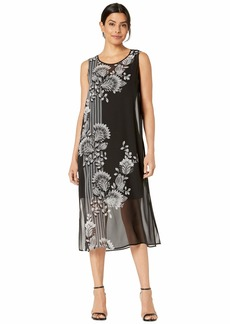 Vince Camuto Sleeveless Ornate Melody Chiffon Overlay Dress