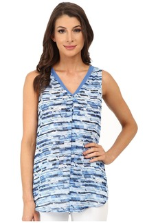 Vince Camuto Sleeveless Panel Texture Blouse w/ Front Pleat