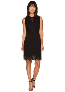 Vince Camuto Sleeveless Ponte Dress w/ Lace Trim