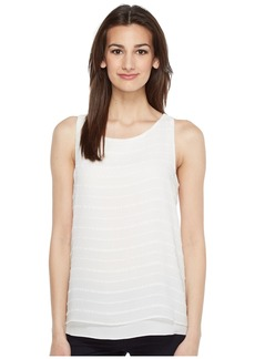 Vince Camuto Sleeveless Sheer Embroidered Stripe Blouse