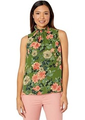 Vince Camuto Sleeveless Smock Neck Guilded Floral Blouse