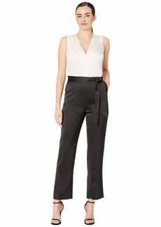 Vince Camuto Sleeveless Soft Satin Belted Color Block Jumpsuit