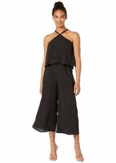 Vince Camuto Sleeveless Soft Texture Popover Halter Jumpsuit