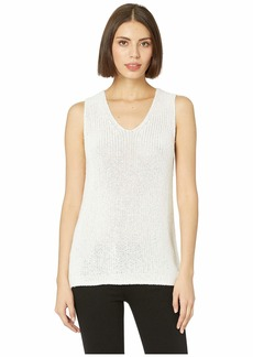 Vince Camuto Sleeveless Specked Shiny V-Neck Sweater