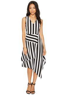 Vince Camuto Sleeveless Spectator Stripe Asymmetrical Hem V-Neck Dress