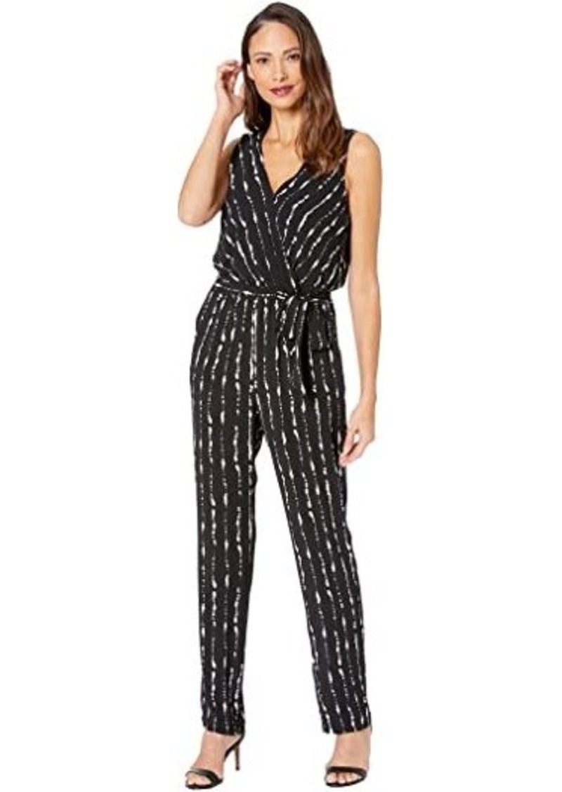 Vince Camuto Sleeveless Stripe Impressions Belted Jumpsuit
