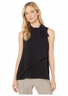 Vince Camuto Sleeveless Tie Neck Front Overlay Soft Texture Blouse