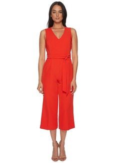 Vince Camuto Sleeveless V-Neck Belted Poly Base Jumpsuit