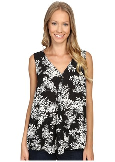 Vince Camuto Sleeveless V-Neck Delicate Foliage Drape Front Blouse