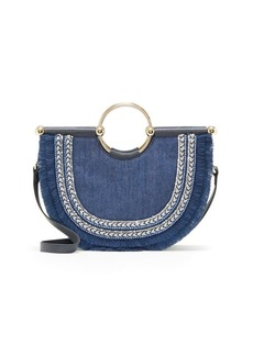 Vince Camuto Small Half-Moon Denim Satchel Bag
