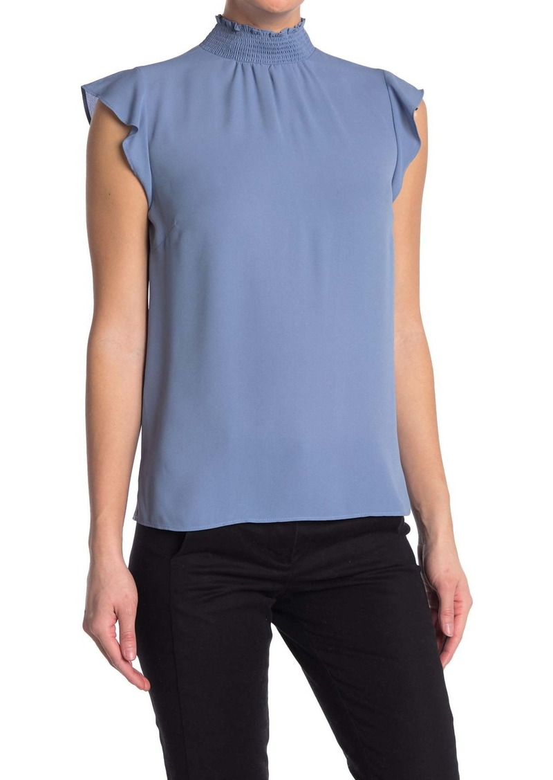 Vince Camuto Smocked Neck Ruffle Sleeve Top
