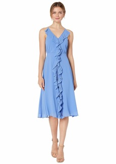 Vince Camuto Souffle Chiffon Midi Dress with Pleating