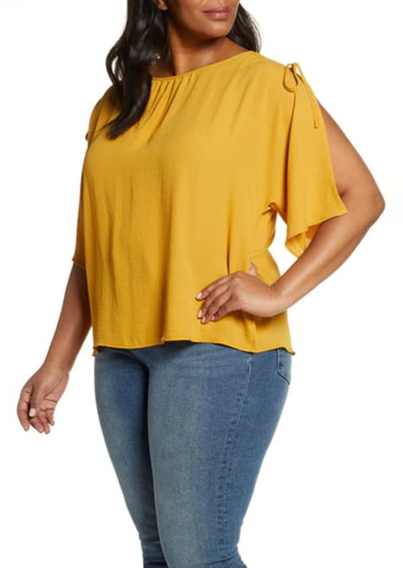 Vince Camuto Split Sleeve Georgette Blouse (Plus Size)