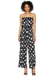 Vince Camuto Strapless Botanical Tropic Belted Jumpsuit