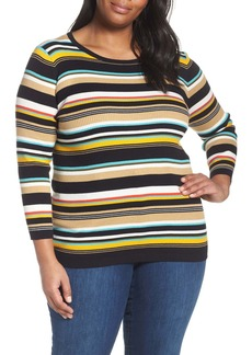 Vince Camuto Stripe Ribbed Sweater (Plus Size)