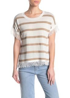 Vince Camuto Striped Fringe Trim T-Shirt