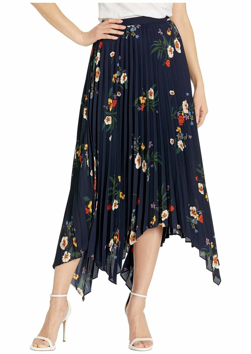 Vince Camuto Surreal Garden Asymmetrical Hem Pleated Skirt